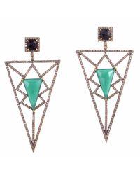 Meghna Jewels - Pyramid Earrings Green Chalcedony & Diamonds - Lyst