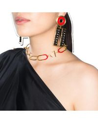 A. Carnevale Multicolor Get Cool Boy Earrings Gold Red & Black