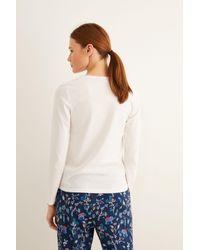 Camiseta algodón manga larga Women'secret de color Natural