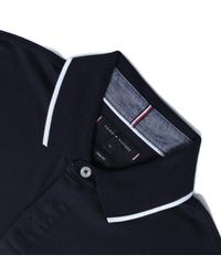 Tommy Hilfiger Blue Icon Badge Slim Fit Long Sleeve Dark Navy Polo Shirt for men