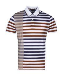 Aquascutum Blue Northfleet Block Stripe Navy, Vicuna & Ivory Polo Shirt for men
