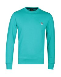 PS by Paul Smith Blue Turquoise Crew Neck Sweatshirt for men