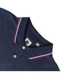Pretty Green Blue Regular Fit Long Sleeve Tipped Navy Polo Shirt for men