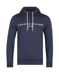Tommy Hilfiger Blue Navy Logo Overhead Hoodie for men