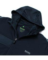 BOSS Green - Blue Saggytech Navy Geometric Hooded Track Sweatshirt for Men - Lyst