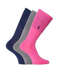 Polo Ralph Lauren - Blue 3 Pack Navy, Grey & Pink Socks for Men - Lyst
