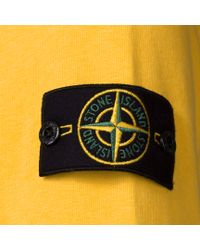 Stone Island - Yellow Double Neck Hoodie for Men - Lyst