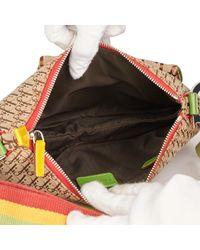 Dior Brown Monogram Canvas & Yellow Calfskin Leather Rasta Crossbody Double Saddle Bag
