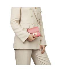 Hermès Pink Rose Lipstick Tadelakt Leather Constance Compact Wallet