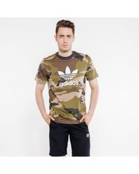 Adidas Multicolor Camouflage Trefoil Tee for men