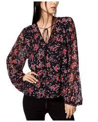 Nanette Lepore Black Floral-print Top