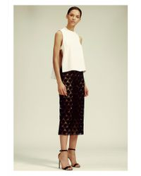 Yigal Azrouël Black Hibiscus Lace Skirt
