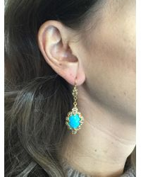 Cathy Waterman - Blue Turquoise Blackened Scalloped Frame Earrings - Lyst
