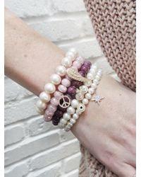 Sydney Evan - Peace Sign Charm On Pink Grapolite Beaded Bracelet - Lyst