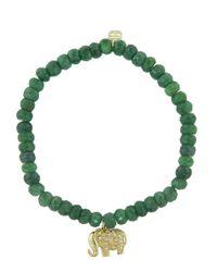Sydney Evan - Green Diamond Elephant Charm On Emerald Beaded Bracelet - Lyst