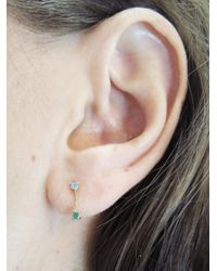 Wwake - Multicolor Small Two-step Opal And Emerald Chain Stud Earrings - Lyst