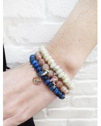 Sydney Evan - Rainbow Peace Sign Charm On Blue Agate Beaded Bracelet - Lyst