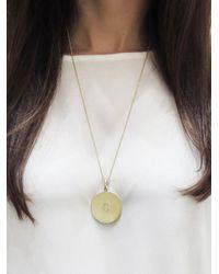 Jennifer Meyer - Metallic Large Circle Diamond Initial Pendant Necklace - Lyst