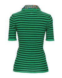 Tory Burch Green Collared Convertible Sweater