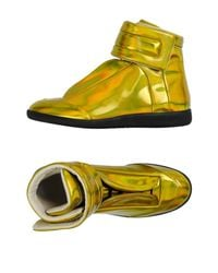 Maison Margiela - Metallic Faux-Leather High-Top Sneakers for Men - Lyst