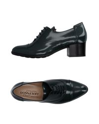 Donna Soft Black Lace-up Shoe