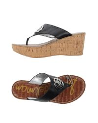 Sam Edelman | Black Toe Strap Sandal | Lyst