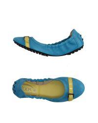Tod's - Blue Ballet Flats - Lyst