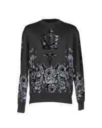 Dolce & Gabbana Gray Crown And Bee Print Sweatshirt for men