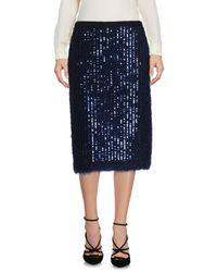 Tory Burch - Blue Knee Length Skirt - Lyst