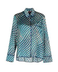 F.R.S For Restless Sleepers Blue Efesto Geometric-print Satin Pyjama Top