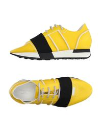 Balenciaga Yellow Leather Low-Top Sneakers