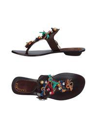 CafeNoir Brown Toe Strap Sandal