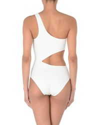 Solid & Striped White One-piece Swimsuit