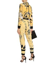 Victoria, Victoria Beckham Printed Crepe Tapered Pants Yellow