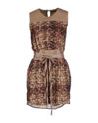 Manila Grace | Natural Short Dress | Lyst