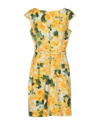 Oscar de la Renta Yellow Floral Pleated Dress