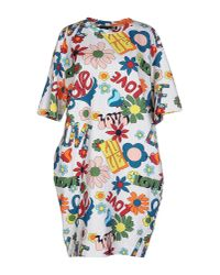 Love Moschino | Multicolor Printed Silk Shirt Dress with Scarf Tie and Half Length Sleeves | Lyst