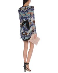 Proenza Schouler Blue Floral-print Handkerchief-hem Wrap Dress