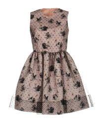 RED Valentino Pink Tulleoverlay Swanprint Dress