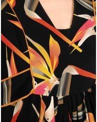Fendi - Black Bird Of Paradise-print Silk Midi Dress - Lyst