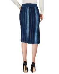 Greg Lauren Blue Knee Length Skirt