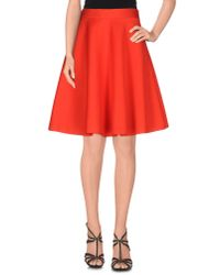 P.A.R.O.S.H. Red Knee Length Skirt