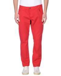 Solid - Red Casual Trouser for Men - Lyst