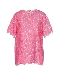 Valentino Pink Floral Lace Blouse