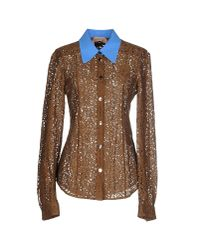 N°21 - Brown Cecilia Lace Shirt - Lyst