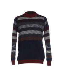White Mountaineering Blue Patterned Knittedwool Sweater for men