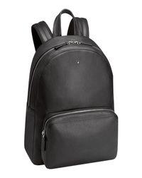 Montblanc Black Mst Soft Grain Leather Backpack for men