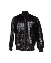 KTZ Black Textured Bomber Jacket