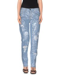 Pinko - Blue Denim Pants - Lyst