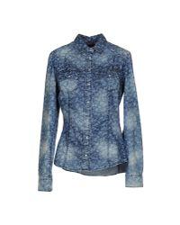 Guess - Blue Denim Shirt - Lyst